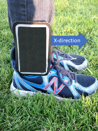 Measure the motion of the ankle with Science Journal app by attaching a cellphone to the ankle.