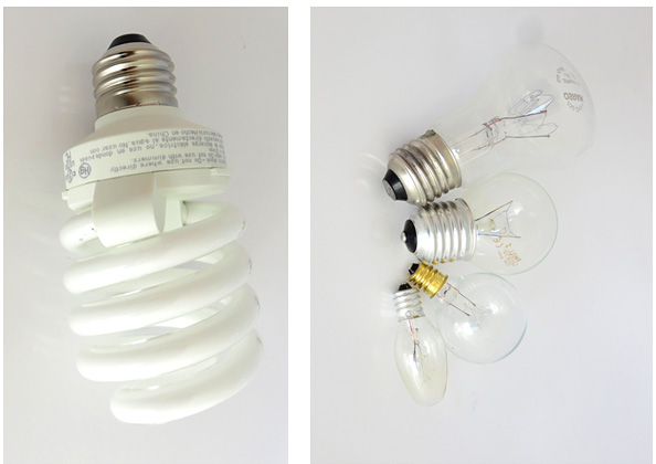 Photos of a fluorescent light bulb and a variety of incandescent light bulbs