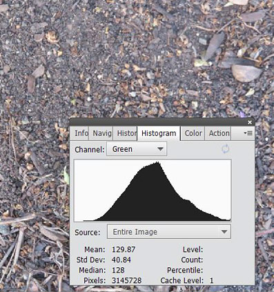 Color histogram for the green channel of a picture of dirt.