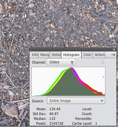 A picture of dirt with its histogram for all three (R,G, and B).