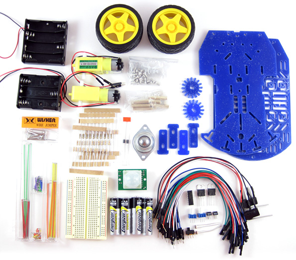 Parts from a BlueBot robotics kit sold on the website homesciencetools.com are laid out neatly