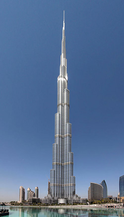The Burj Khalifa in the United Arab Emirates