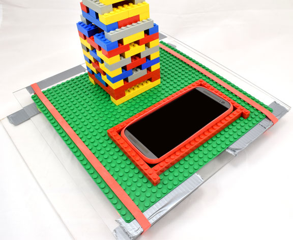google science journal phone held in place with LEGO bricks