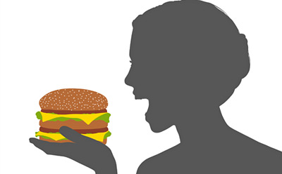 drawing of woman eating hamburger