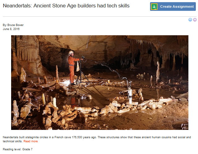 Screenshot of a news article titled Neandertals: Ancient Stone Age builders had tech skills on ScienceBuddies.org