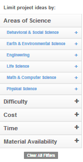 Science Buddies Project Library Filters / Screenshot