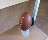 Football catapult field goal experiment with Science Buddies Store catapult kit