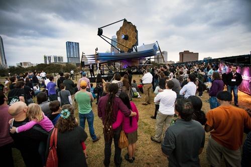 Crowd gathered around Northrop Grumman's model James Webb Space Telescope