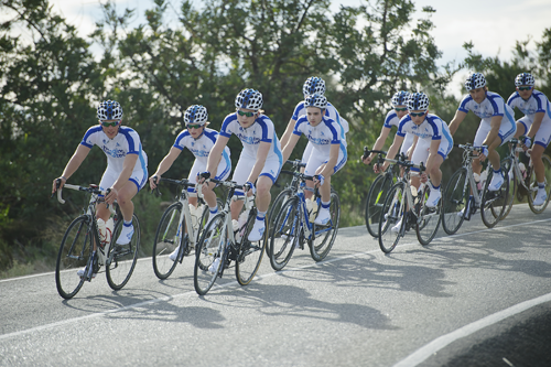 Team Novo Nordisk in their blue and white Changing Diabetes jerseys