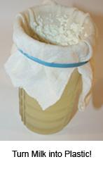 Girls STEM milk plastic polymers