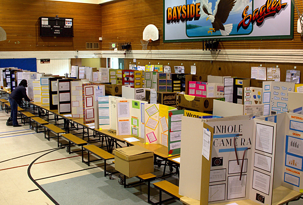 Science Fair Project Display Boards at Bayside STEM Academy annual science fair