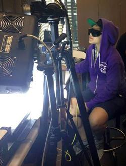 Dani working in HAMR robotics lab