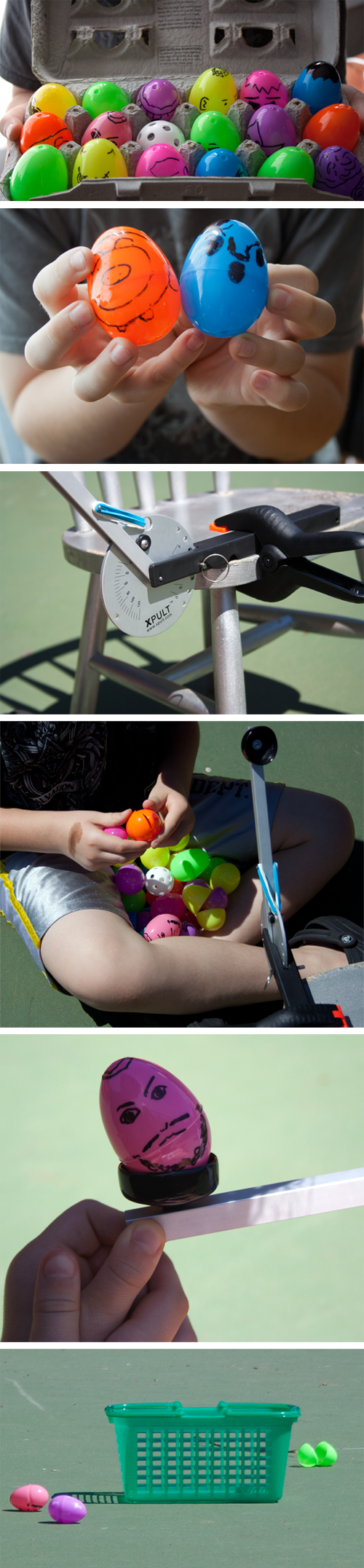 Ping Pong Catapult with Plastic Eggs experiment / family science activity