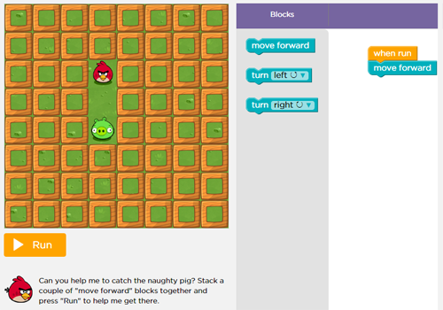 A screenshot from Code.org's sample Hour of Code activity