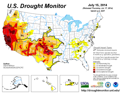Map of US drought 2014 July