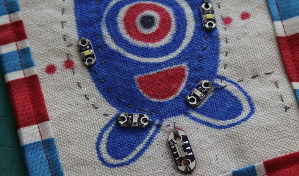 Red, white, and blue monster soft circuit patch