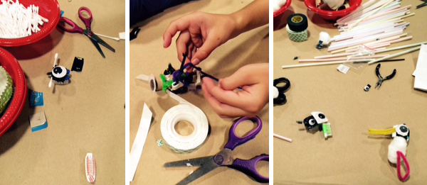 Three photos of a bristle bot being decorated with household materials