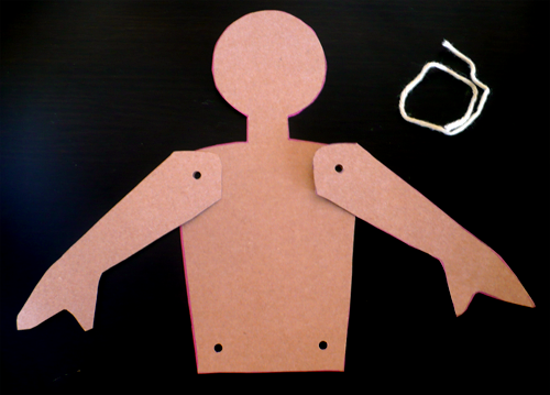 Paper doll materials science project template for articulated paper doll