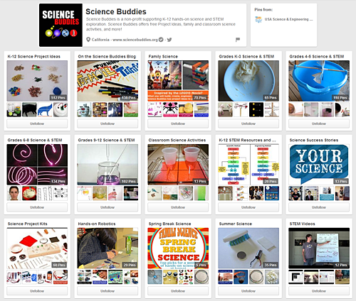 Some of the many Science Buddies boards at Pinterest