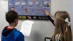 Students consulting classroom scientific method poster