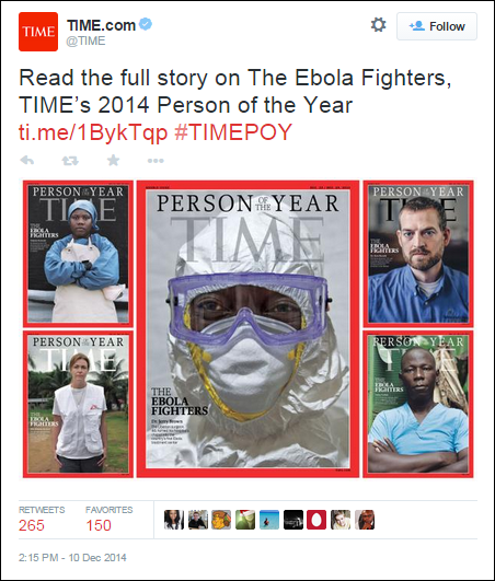 Ebola fighters TIME Person of the year covers from Twitter post