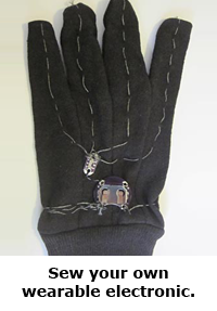 Spring break science / hands-on projects guide for families -- LED wearable e-textiles electronics project