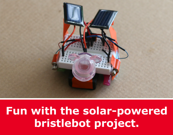 Advanced Bristlebot Solar-Powered Kit and Hands-on Robotics Project - bear head or googly eyes