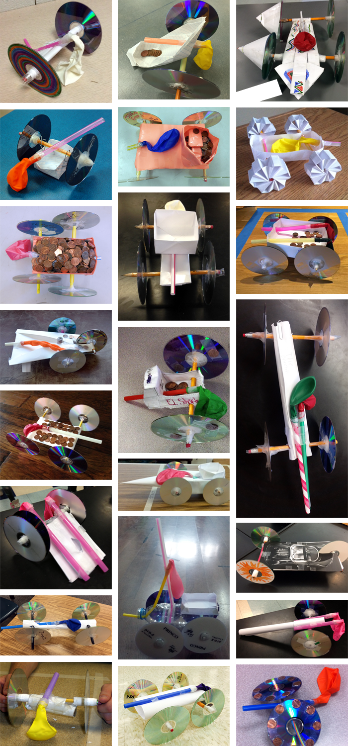 Photo collage of twenty-two different balloon powered car designs