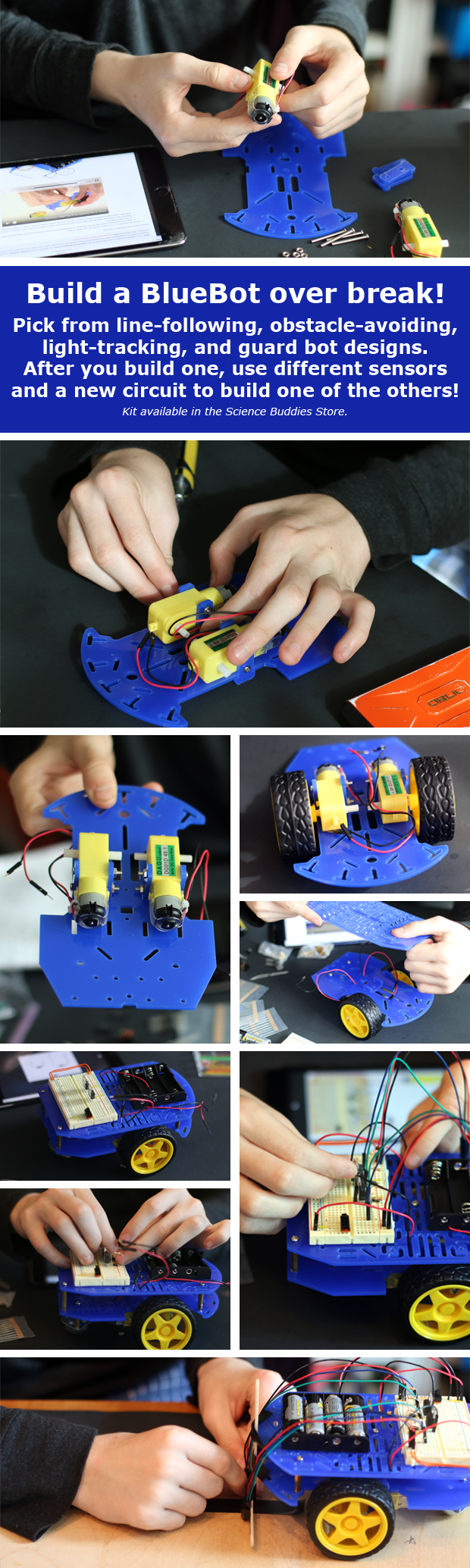 Build a BlueBot Over Break with the BlueBot: 4-in-1 Robotics Kit from the Science Buddies Store