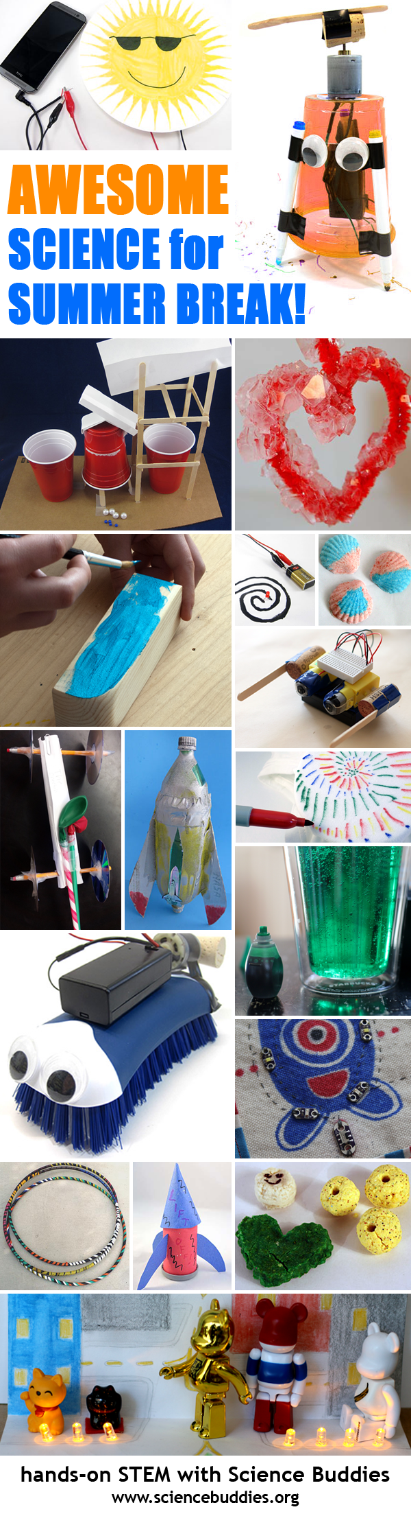 Photo collage of eighteen science projects for summer break
