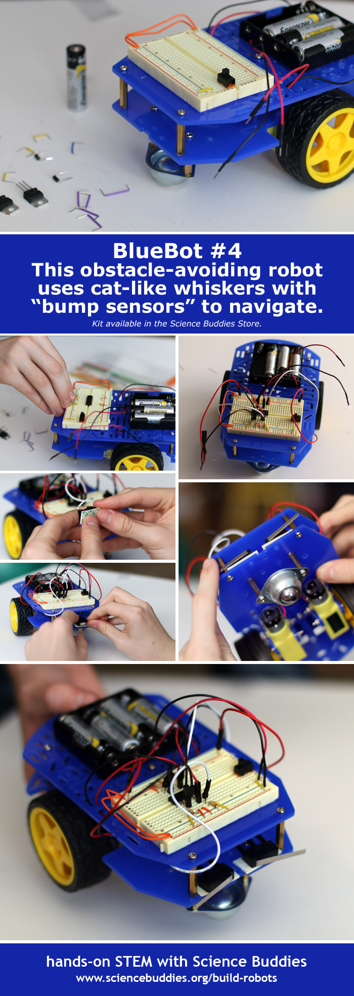 BlueBot #4 - the Obstacle-Avoiding BlueBot, part of the series of robotics projects that can be done with the BlueBot: 4-in-1 Robotics Kit