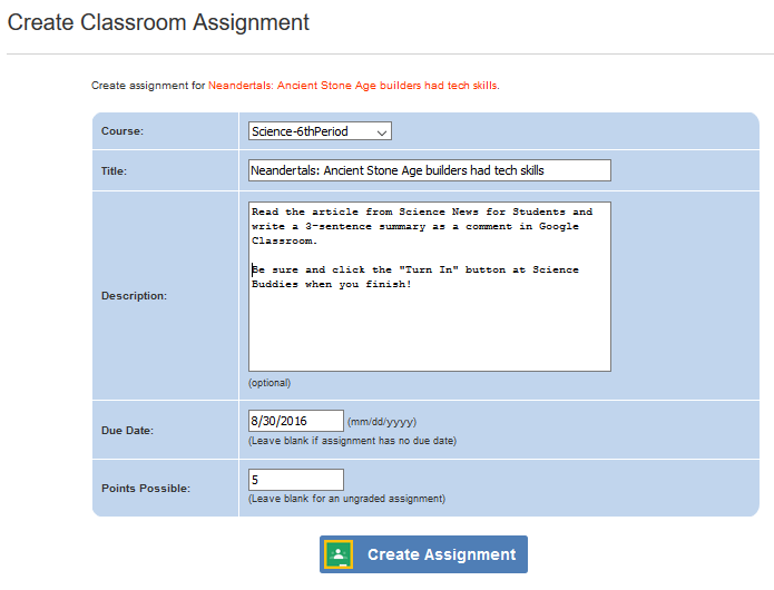 Google Classroom Integration / Radioactive dating science news reading assignment / Create Assignment form