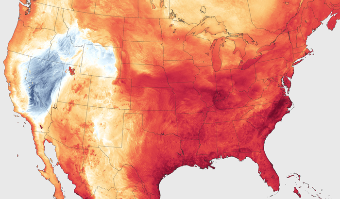 Heat map for the U.S. from NOAA