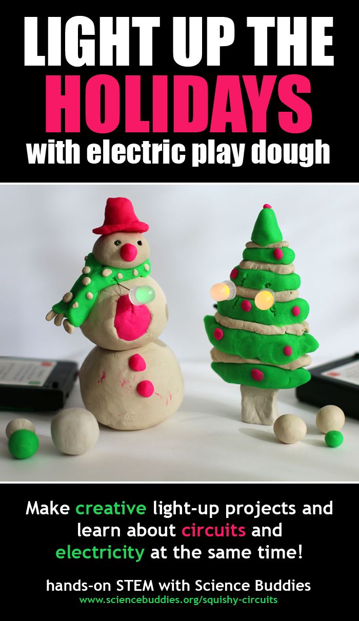 A snowman and Christmas tree lit by LEDs are made with conductive play dough
