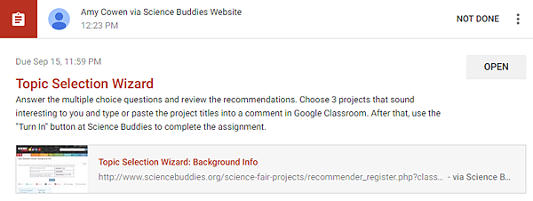 Topic Selection Wizard Assignment / Student View in Google Classroom