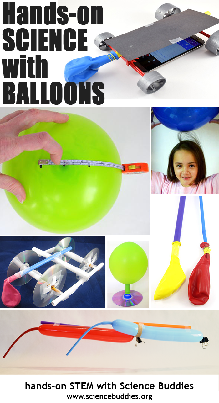 Photo collage of seven balloon based science projects