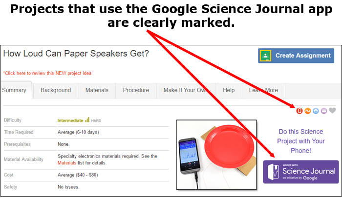 Projects with Google's Science Journal app integration are marked so that students can easily identify them.