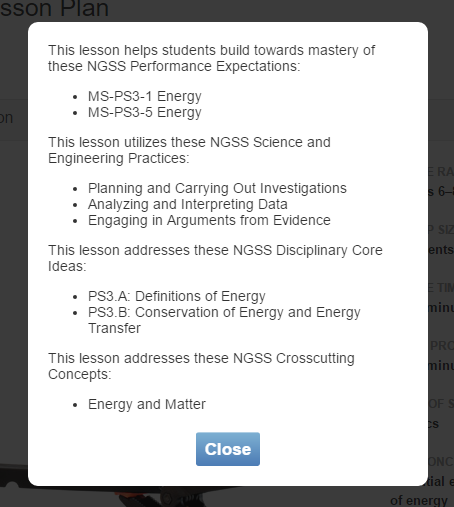 Cropped screenshot of a Science Buddies experiment NGSS standards dialog box