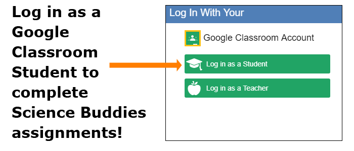 Cropped screenshot of a Google Classroom login box on ScienceBuddies.org