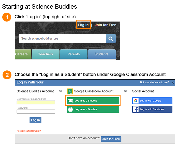 Login from the Science Buddies website