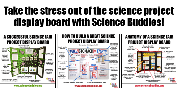 Three example science board displays side-by-side