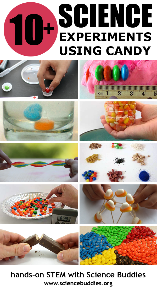 Photo collage of various candies used in ten different science experiments