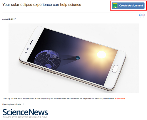 Google Classroom Integration / Create Assignment button on science news article