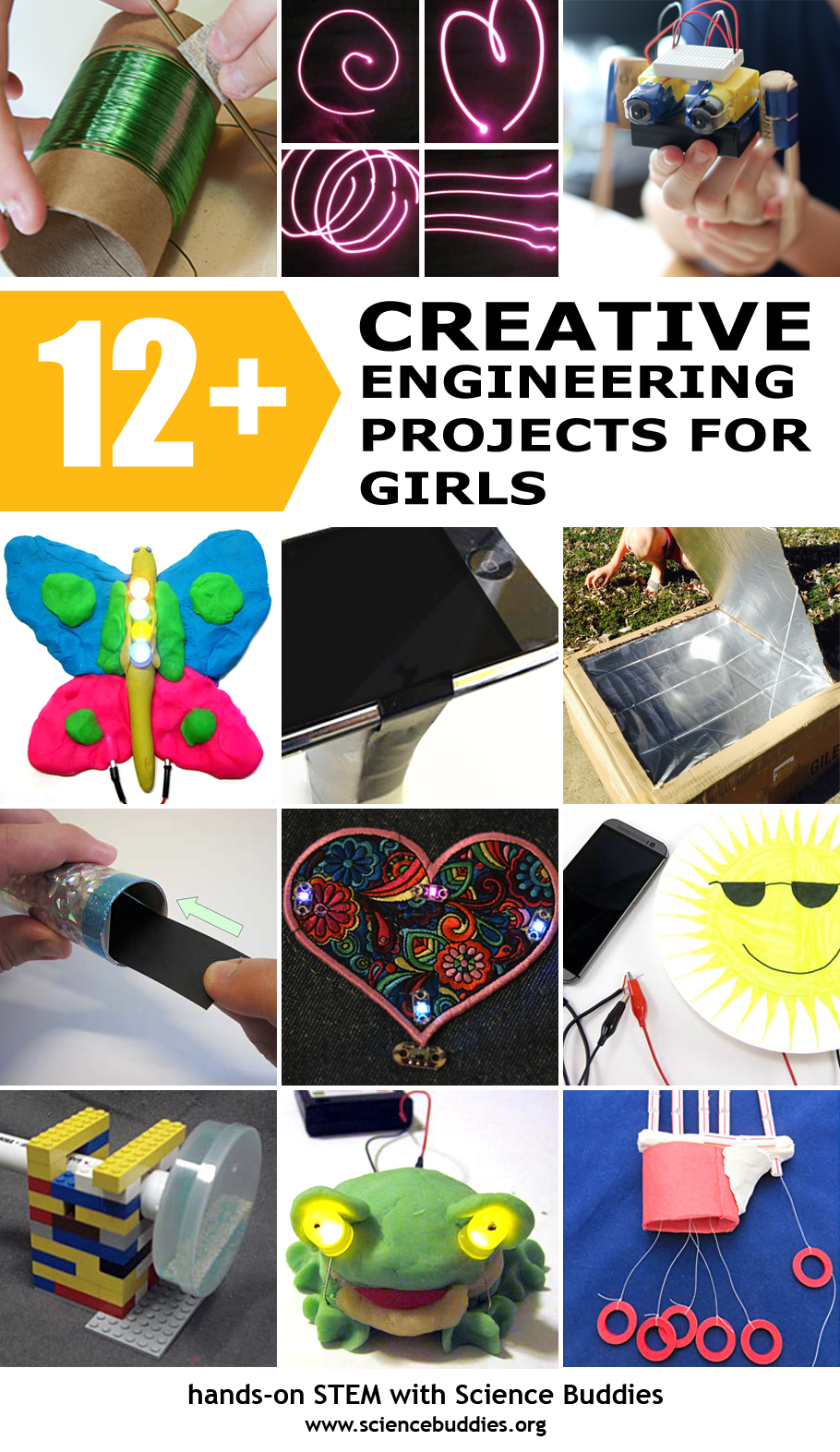 Photo collage of twelve engineering projects for girls