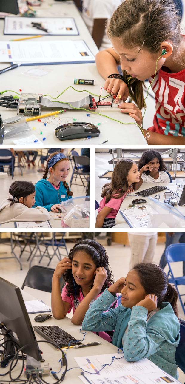 The Girl Factor: Creative Code and Computer Programming / Participants at a girlSPARC workshop work on Raspberry Pi projects in small groups and with the help of girlSPARC mentors.