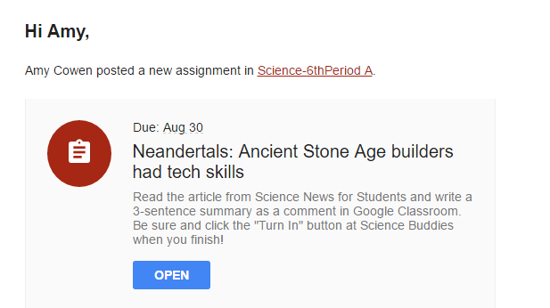 Students are notified of the new Google Classroom science news reading assignment