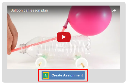 Cropped screenshot of a Create Assignment button for Google Classroom under a video on ScienceBuddies.org