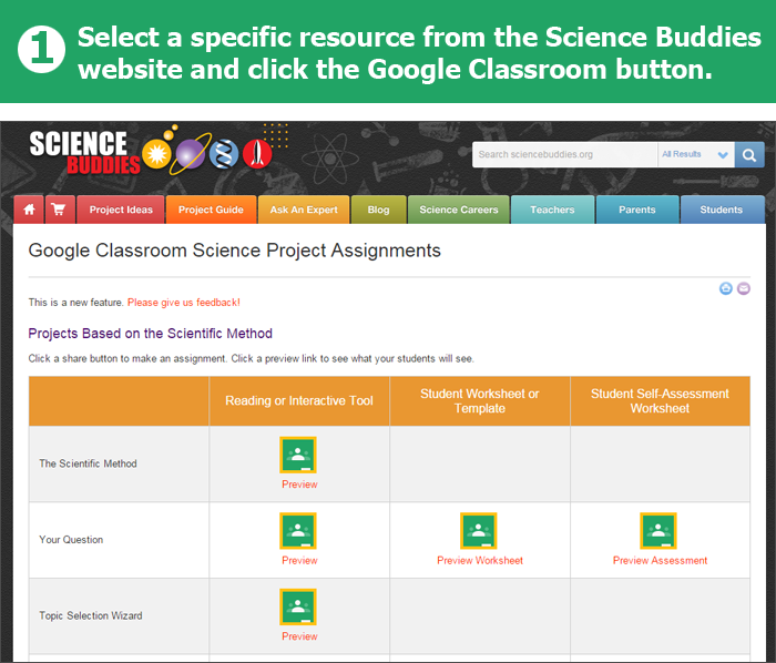 Screenshot of resources available for integration into Google Classroom from the Science Buddies website
