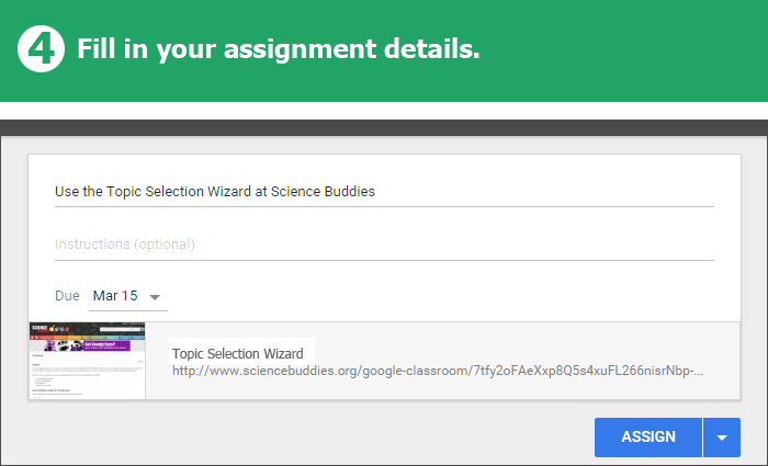 Science Buddies Offers Google Classroom Integration / Step 4