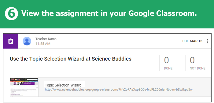 Science Buddies Offers Google Classroom Integration / Step 6
